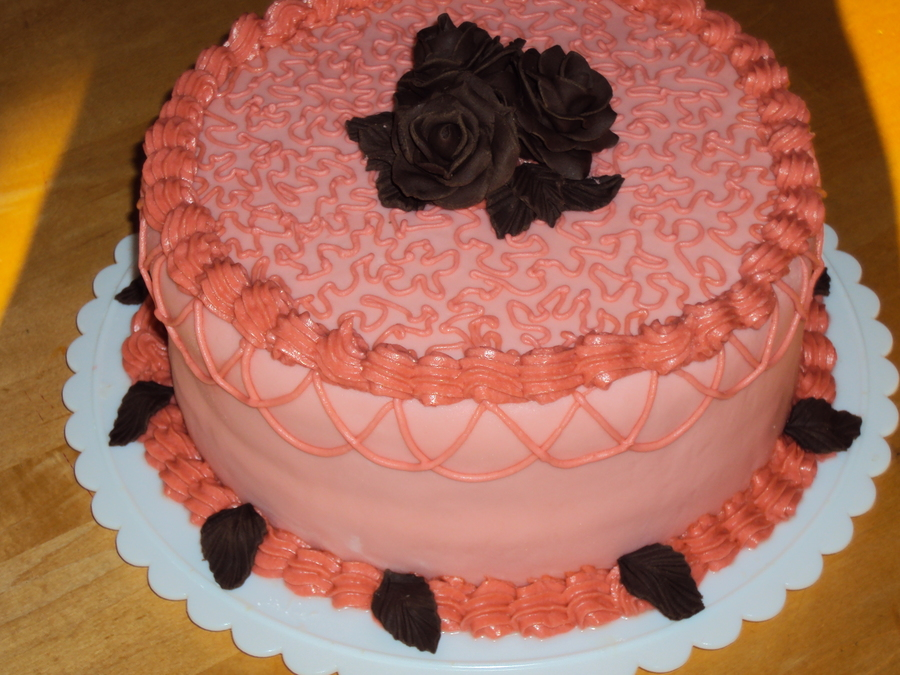 Pink With Chocolate Roses on Cake Central