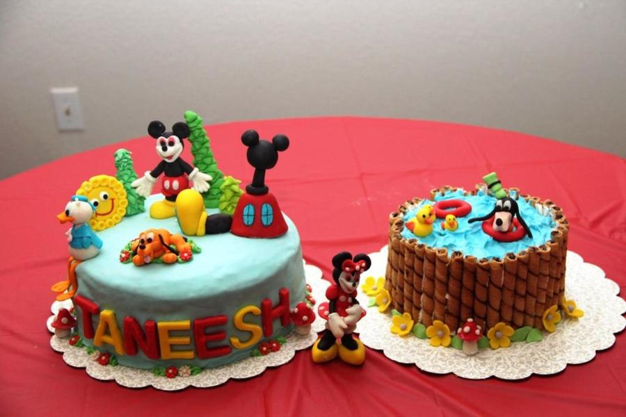 Mickey Cake For My Sonthey Are Both Chocolate Cakes With Strawberry Buttercream Frosting All Characters Are Free Hand Modelling With F on Cake Central