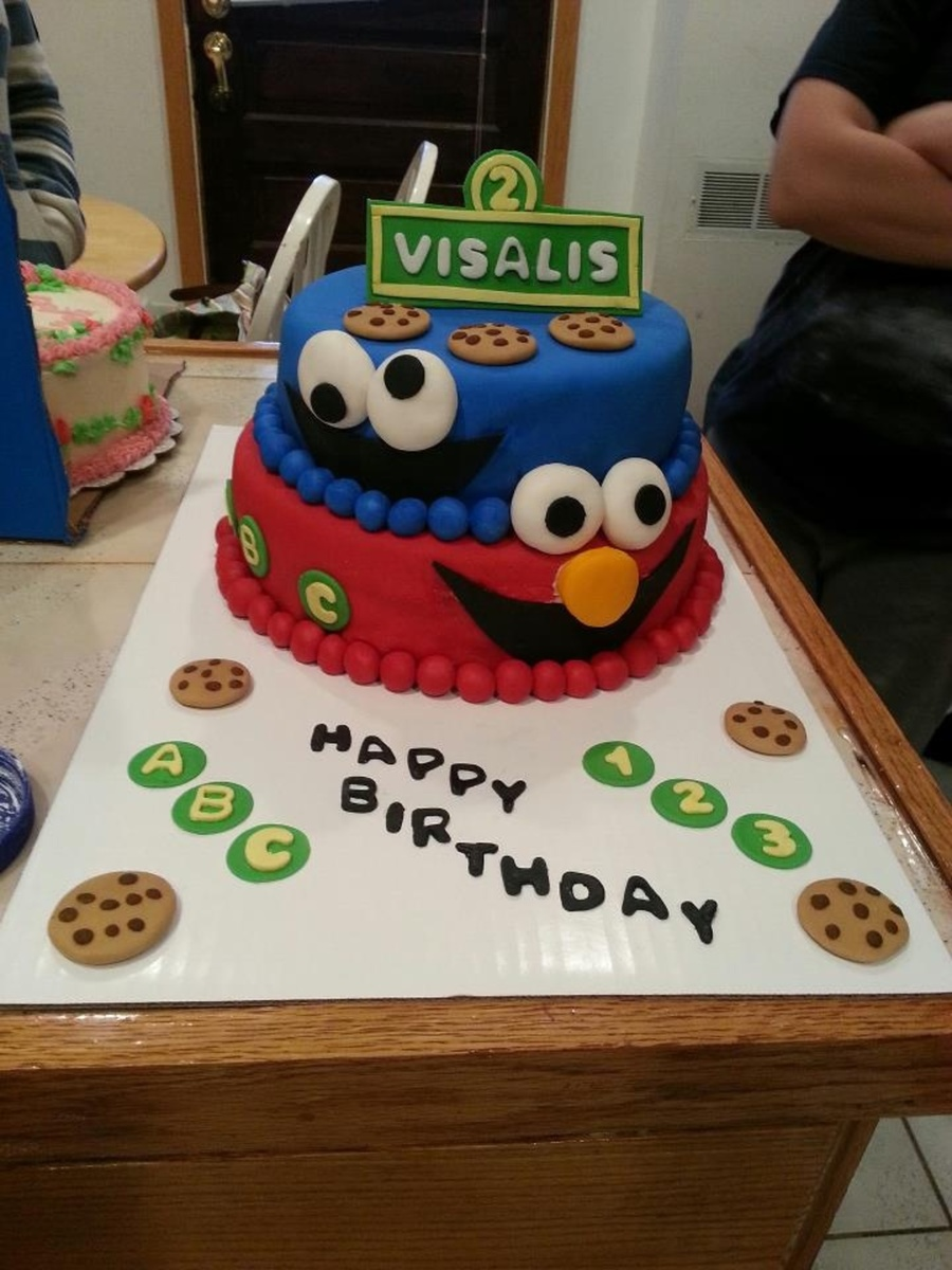 Elmo And Cookie Monster Cake on Cake Central