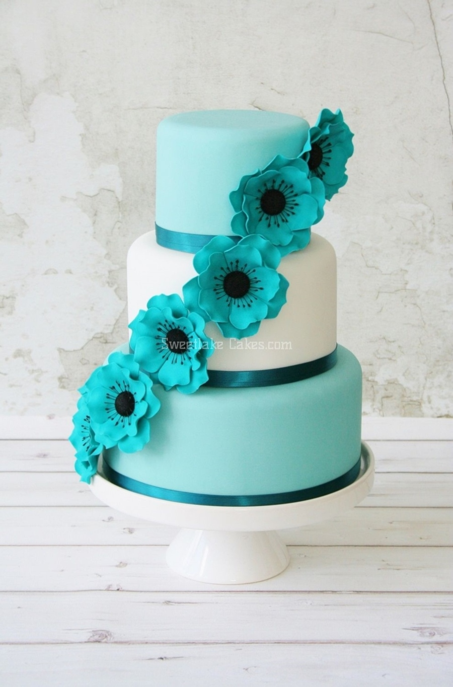 Sea Green Wedding Cake on Cake Central