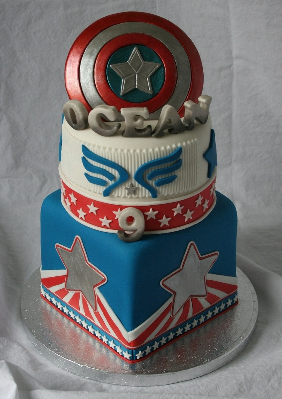 Captain America Cake For Ocean Cakecentral Com