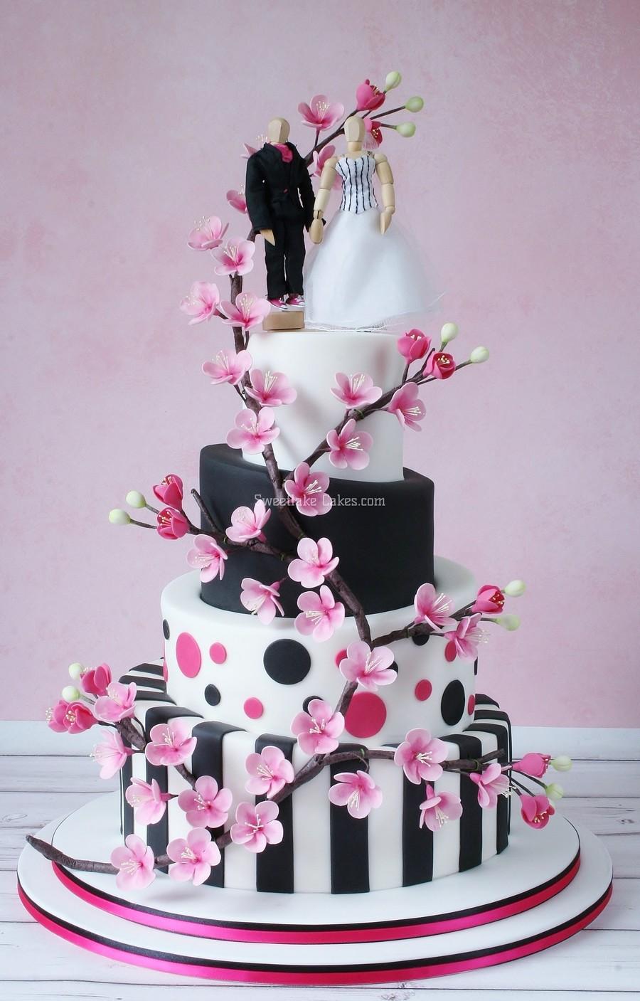 Cherry Blossom Topsy Turvy Wedding Cake - CakeCentral.com