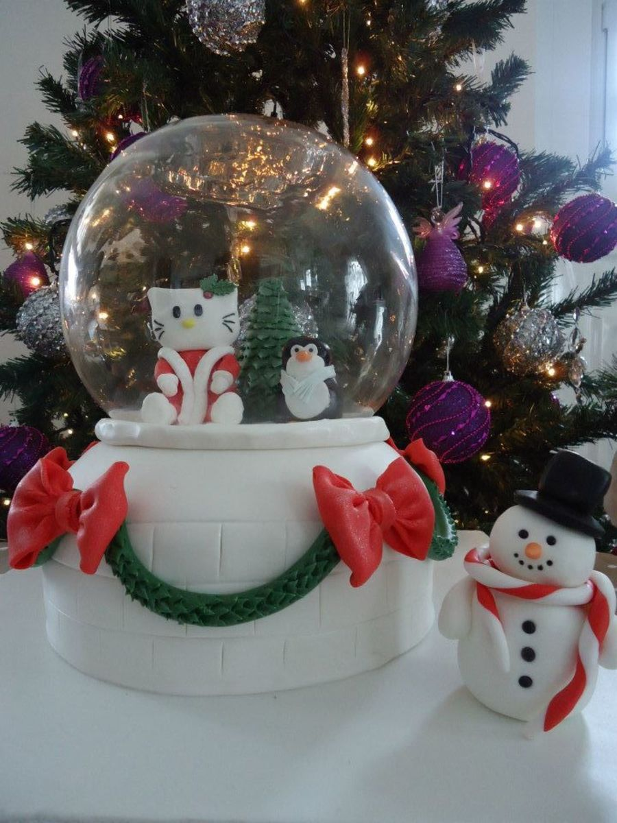 Christmasy Hello Kitty Cake In Snowglobe on Cake Central