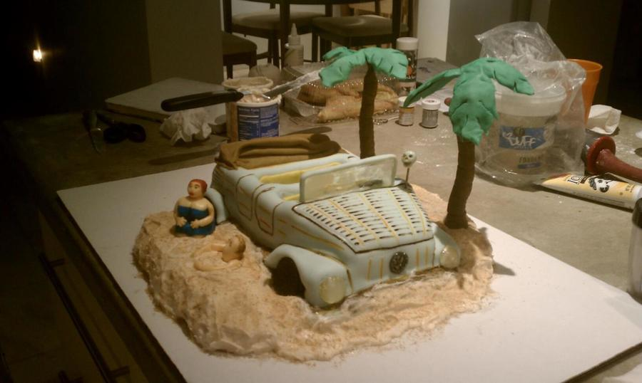 Vw Thing Cake Beachedfor A Friends Birthday Fondant Amp Sugar Type Candy For The Window Amp Headlights Sorry Not A Great Shot With  on Cake Central