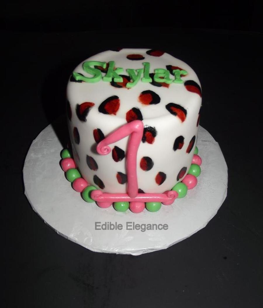 My Customer Requested A Leopard Print Smash Cake With Pink And Lime Green 4 Cake Covered In Fondant With Lots Of Buttercream Under The Fon... on Cake Central