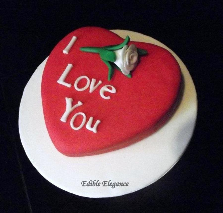 Heart Cake Covered In Red Fondant I Love You Cut From ...