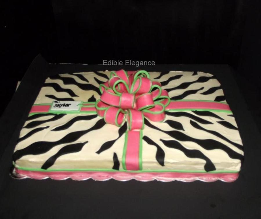 My Customer Requested A 12 Sheet Cake With Zebra Print Pink And Lime Green I Chose To Decorate This As A Gift Package Since There Would B  on Cake Central