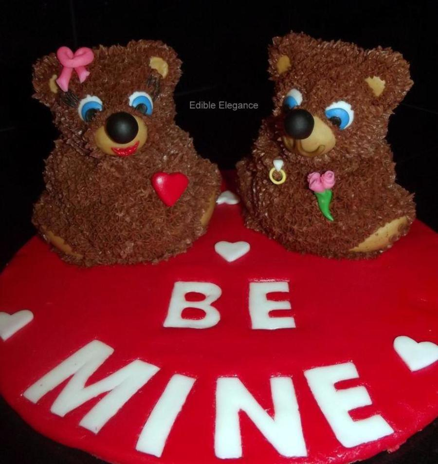 Two 3D Mini Bears Decorated Using Star Tip And Chocolate Frosting Ears Eyes Nose Feet Ect Were All Made From Fondant Large Cake Board on Cake Central