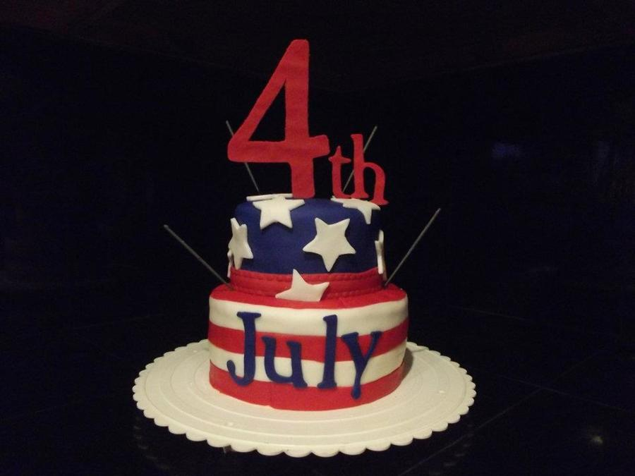 Two Tiers Covered In Fondant And Decorated With Fondant 4Th And July Cut From Cricut Sparklers For Added Fun on Cake Central