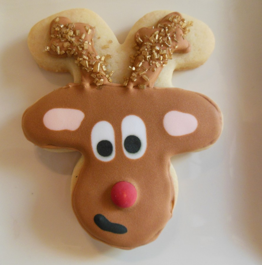 Rudolph And Clarice Royal Icing Sugar Cookie Using Upside Down