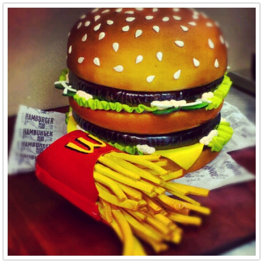 Big Mac And Fries Done For A Mcdonalds Grand Opening on Cake Central