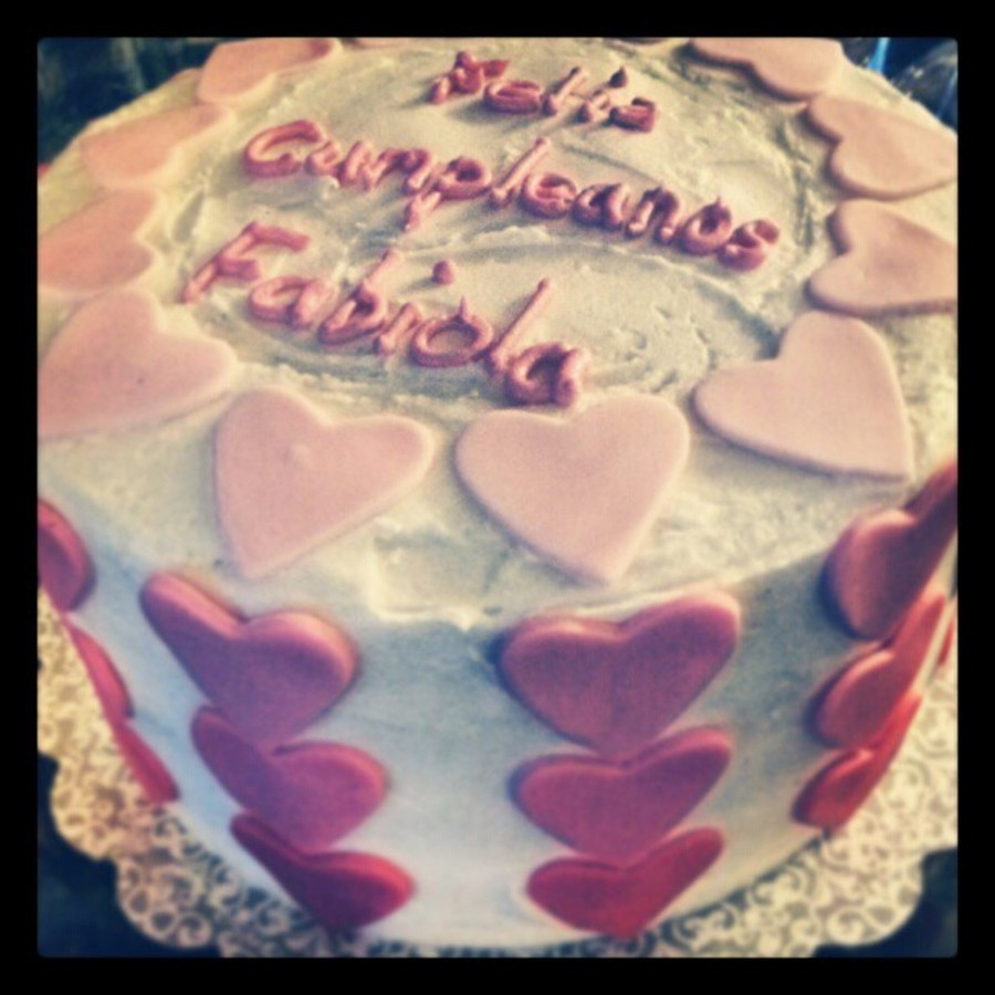 Pink Ombre Hearts On Vanilla Buttercream on Cake Central