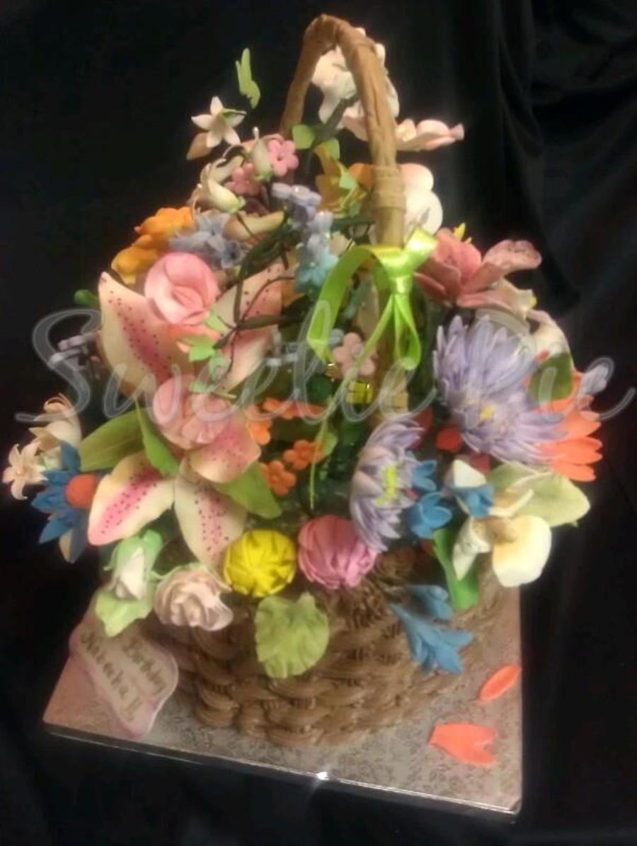 Flower Basket Cake With Gumpaste Flowers Cakecentral Com