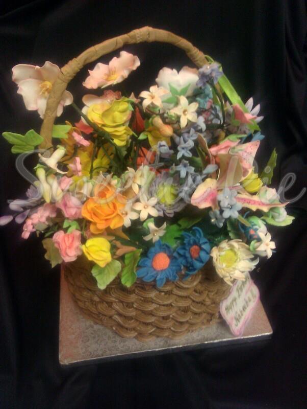 Gumpaste Flower Basket Pictures 54