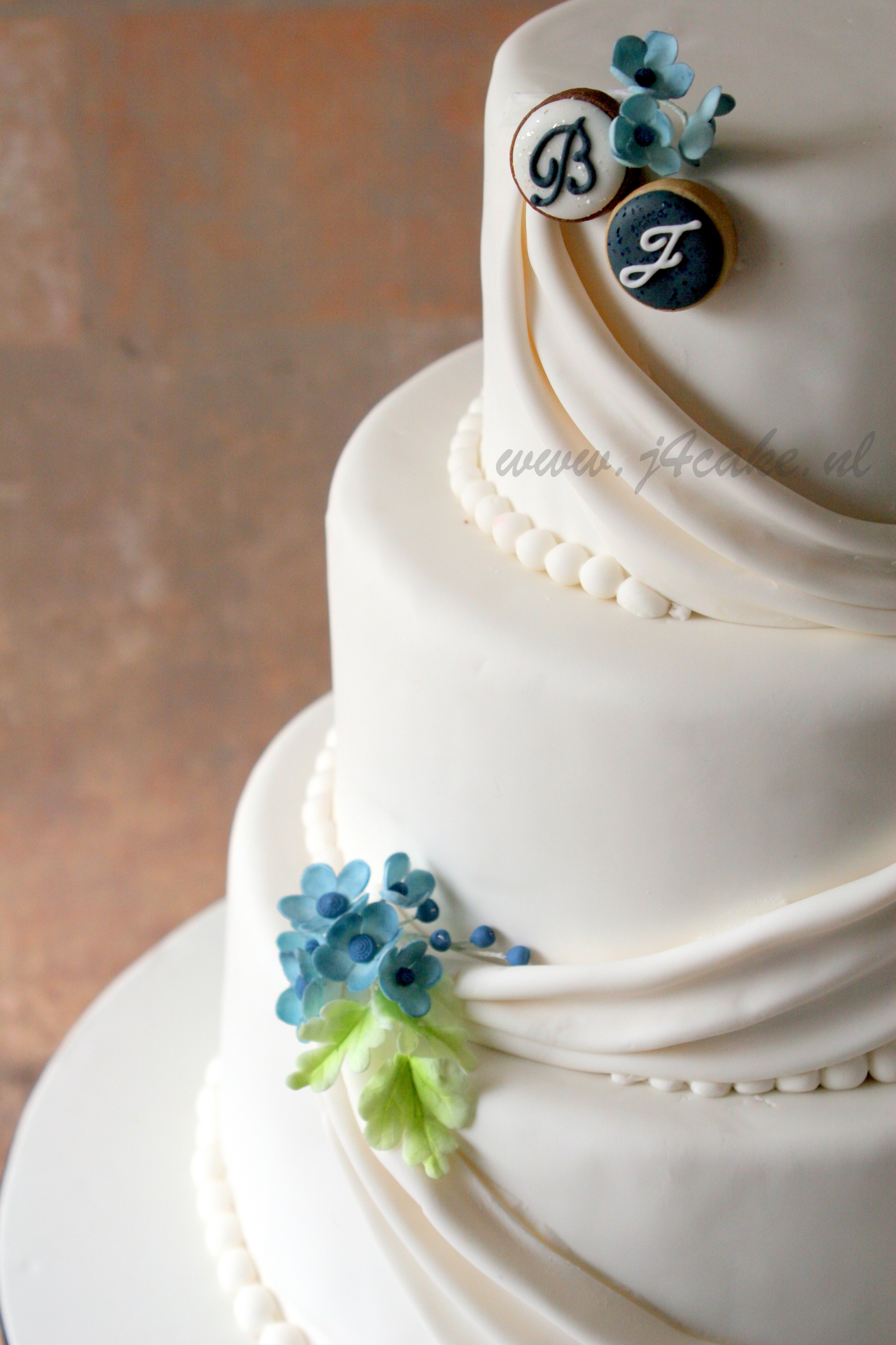 Made A Traditional Wedding Cake In White And Blue - CakeCentral.com