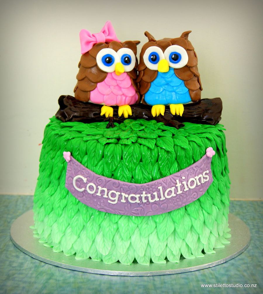 Owl Themed Babyshower Cake on Cake Central