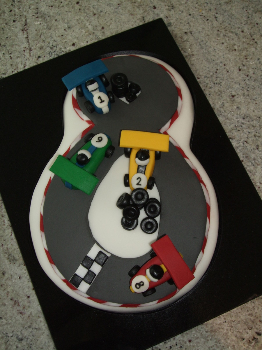 Racing Cake For A Car Mad 8 Year Old. on Cake Central