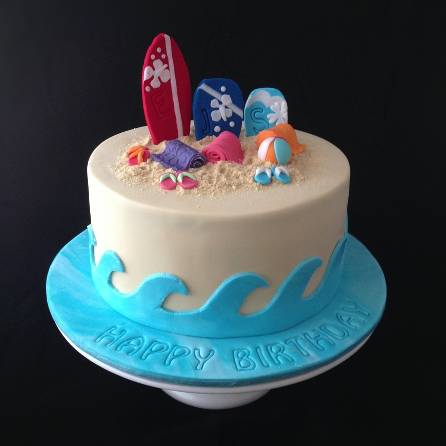 A Beach Themed Cake For Three Beach Babe Sisters That All Celebrate Their Birthdays In January Complete With Edible Sand Surf Board Boogi on Cake Central