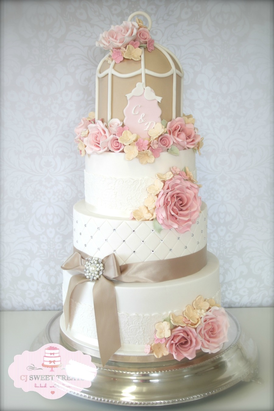 Cotton & Crumbs Inspired Birdcage Wedding Cake - CakeCentral.com