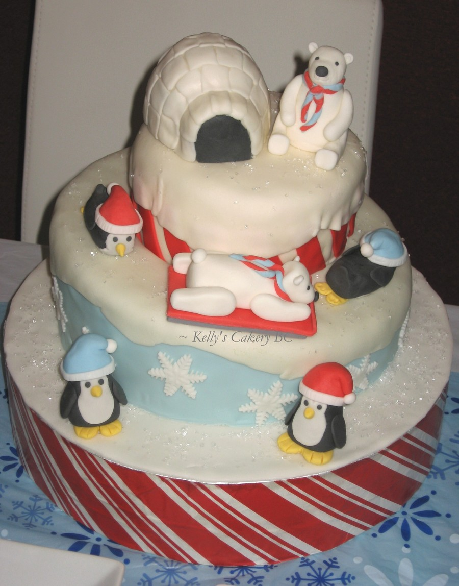 Winter Wonderland Cake Gumpastefondant Penguins And Polar Bears Fondant Covered Rkt Igloobase Is A Styrofoam Cake Dummy Covered In Candy on Cake Central