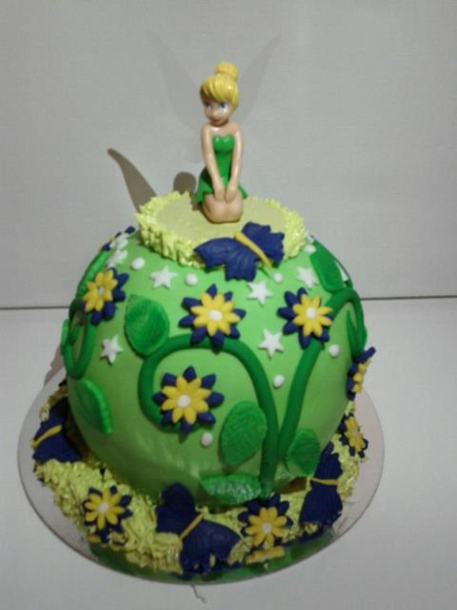 Tinkerbell Fee Clochette Green Purple Cake Flowers Ball Round Child Girl On Central