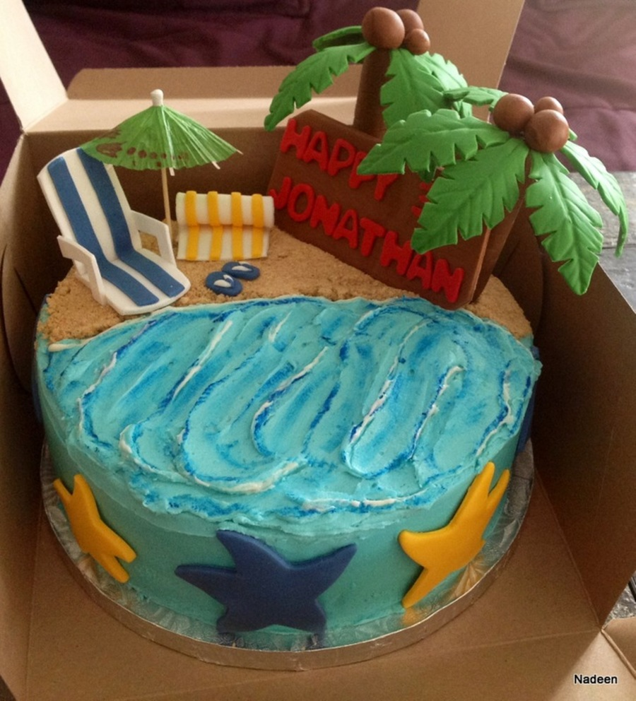 Beach Themed Cake  on Cake Central