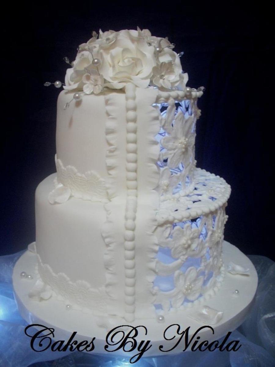 Delicate Royal Icing Filigree Cake