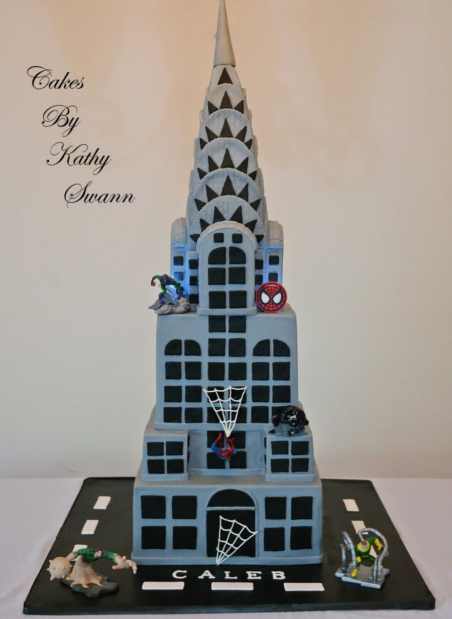 Spiderman Themed Cake With My Cartoonish Recreation Of The Chrysler Building Cakecentral Com