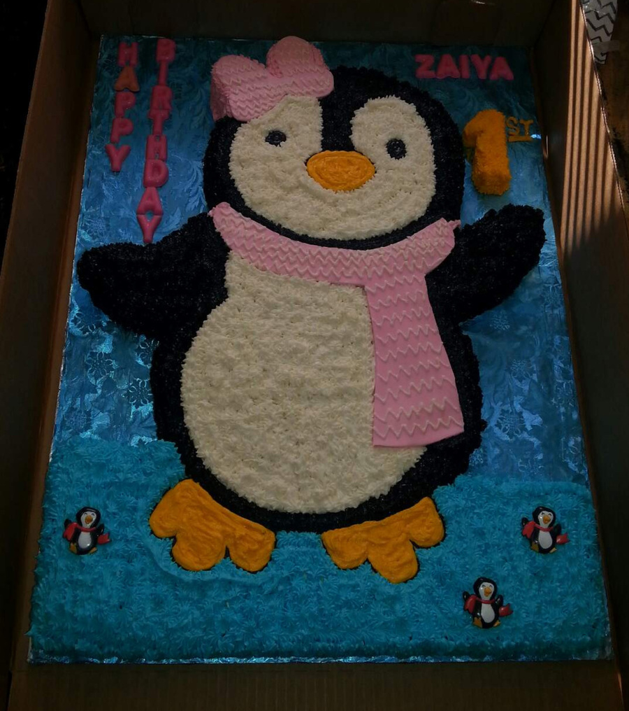 Baby Penguin Shaped Themed Birthday Cake Cakecentral