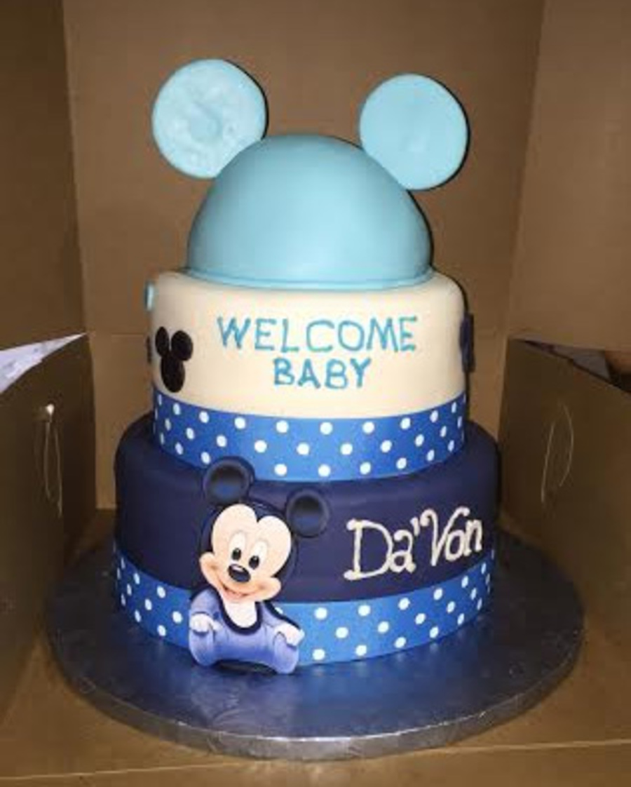 tier baby mickey mouse baby shower cake6 39 top tier yellow cake8