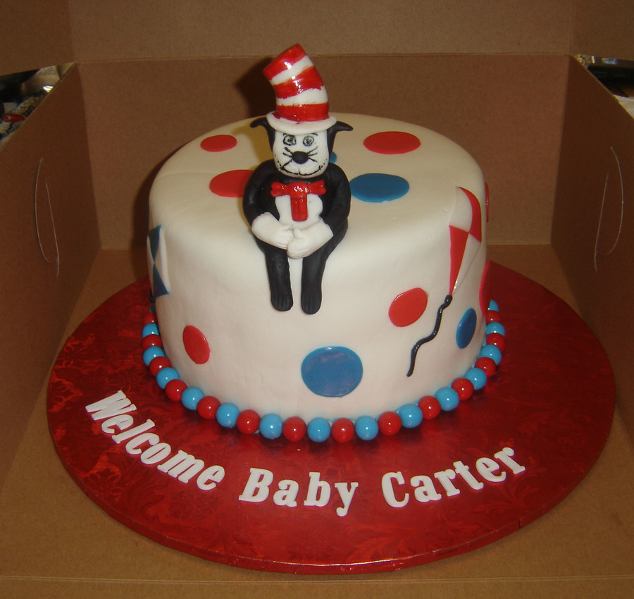 The Cat In The Hat Baby Shower Cake Cakecentral Com