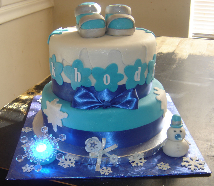 Winter Wonderland Baby Shower 2 Tier Cake Top Tier Red Velvet Bottom Tier  Yellow Cake With