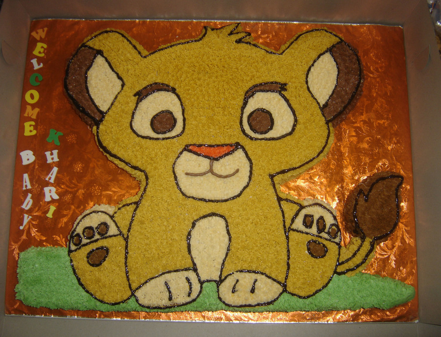 Lion King Baby Simba Baby Shower Cake On Cake Central