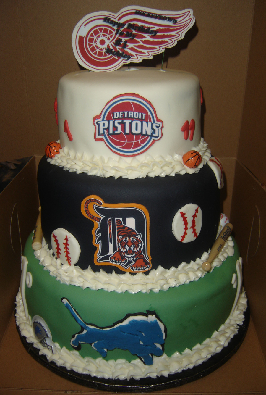 Detroit Sport Teams Themed Birthday Cake Cakecentral Com