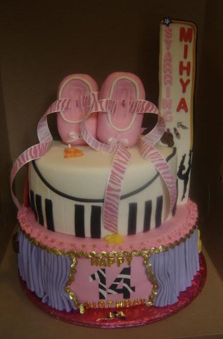 2 Tier Performing Arts Themed Birthday Cake CakeCentralcom