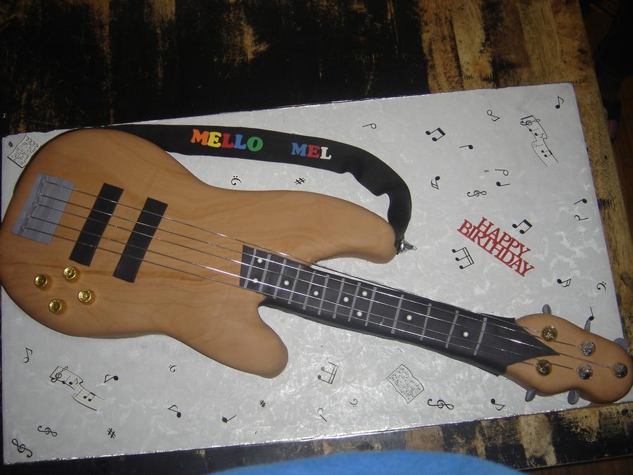 Bass Guitar Themed Birthday Cake CakeCentralcom