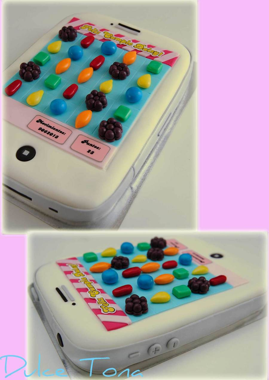 Candy Crush themed cake. Filled with dulce de leche and fresh peaches ...