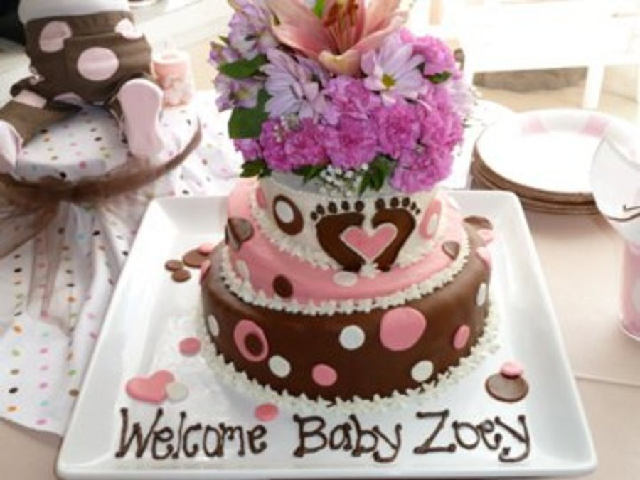 Andreas Baby Shower For Baby Zoey Footprints With Heart Matched The Baby Shower Invitations Note Flowers Are Real on Cake Central