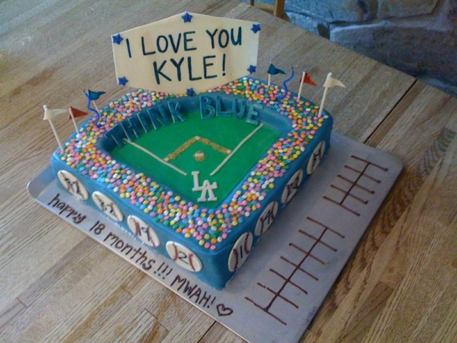 Made This Cake For A Huge Dodger Fan Came With A Couple Tickets To A Game Paid Special Attention To Stadium Details To Make It Personal on Cake Central