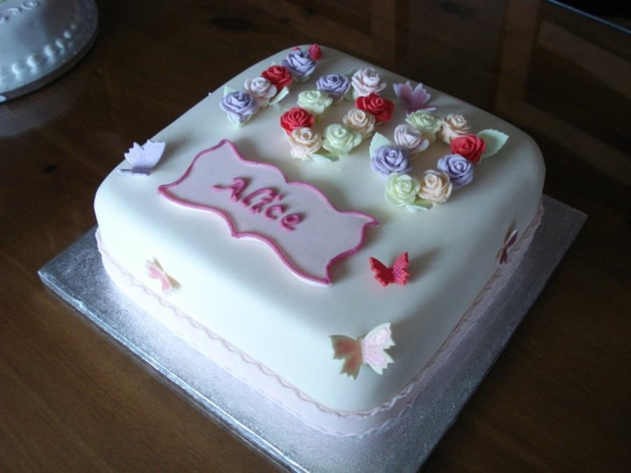 Nans 100th Birthday Cake Fruit Cake Fondant Plaque And Roses First