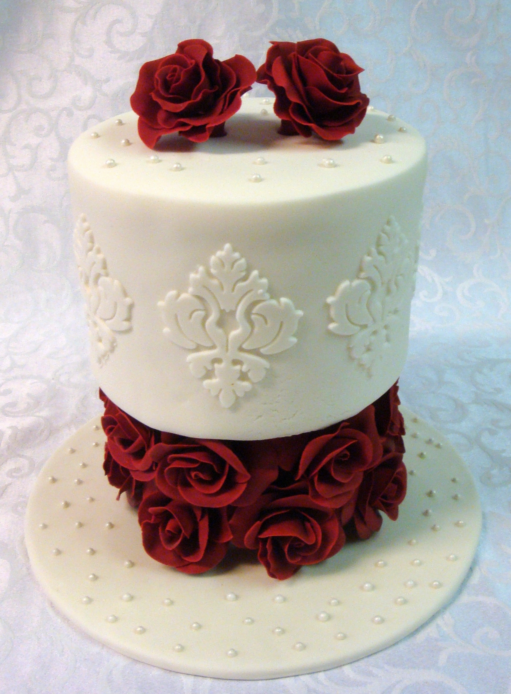Stupendous Birthday Cake I Made For My Wife All Gumpaste Roses Base With Her Funny Birthday Cards Online Overcheapnameinfo