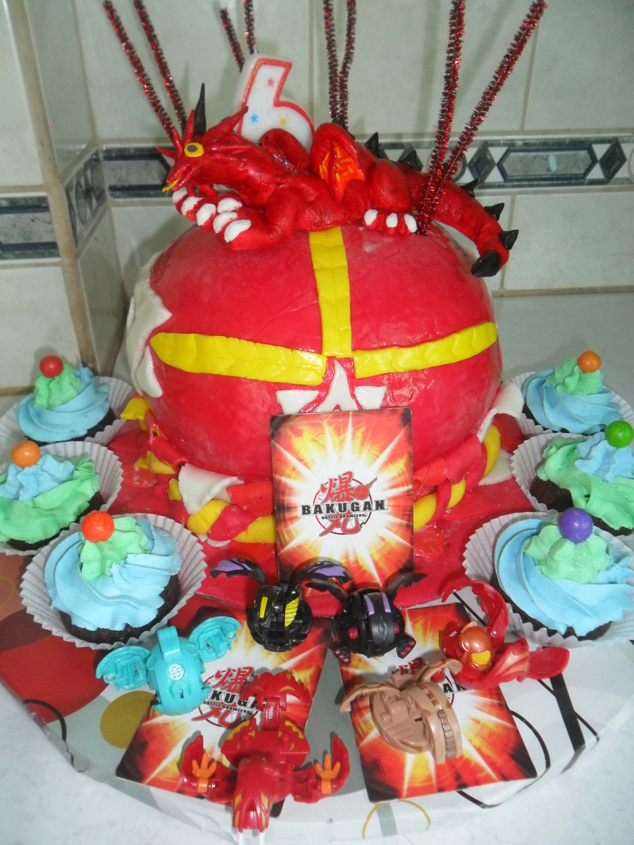 Bakugan Cake And Dragon Egg Cupcakes Made For My Sons 6Th Birthday  on Cake Central