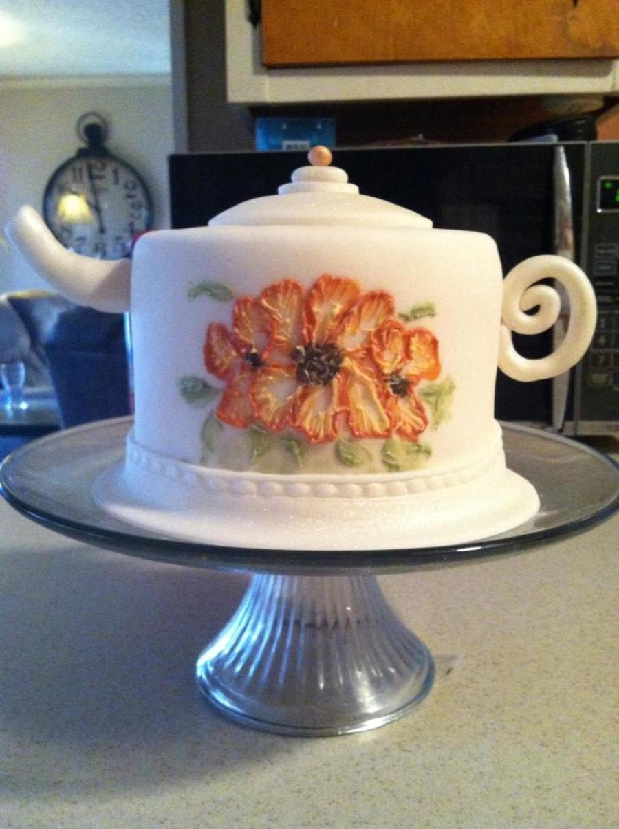 My First Teapot Cake Covered In Fondant And Hand Painted