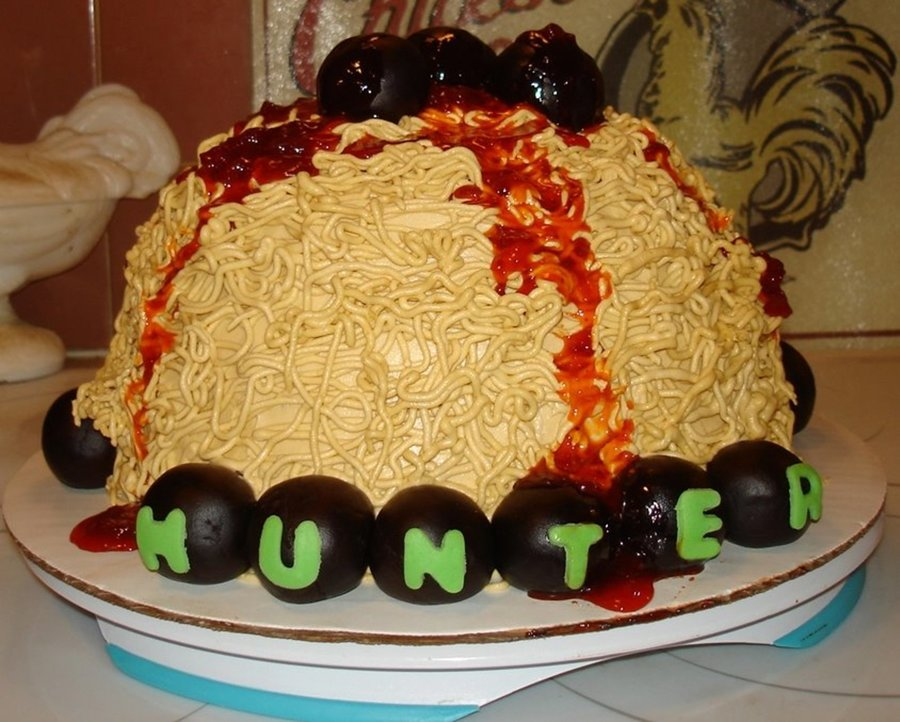 Spaghetti And Meatball Birthday Cake I Made For My Son Who Loves Spaghetti And Meatballs Covered In Buttercream Then Used A Small Tip To Sq... on Cake Central