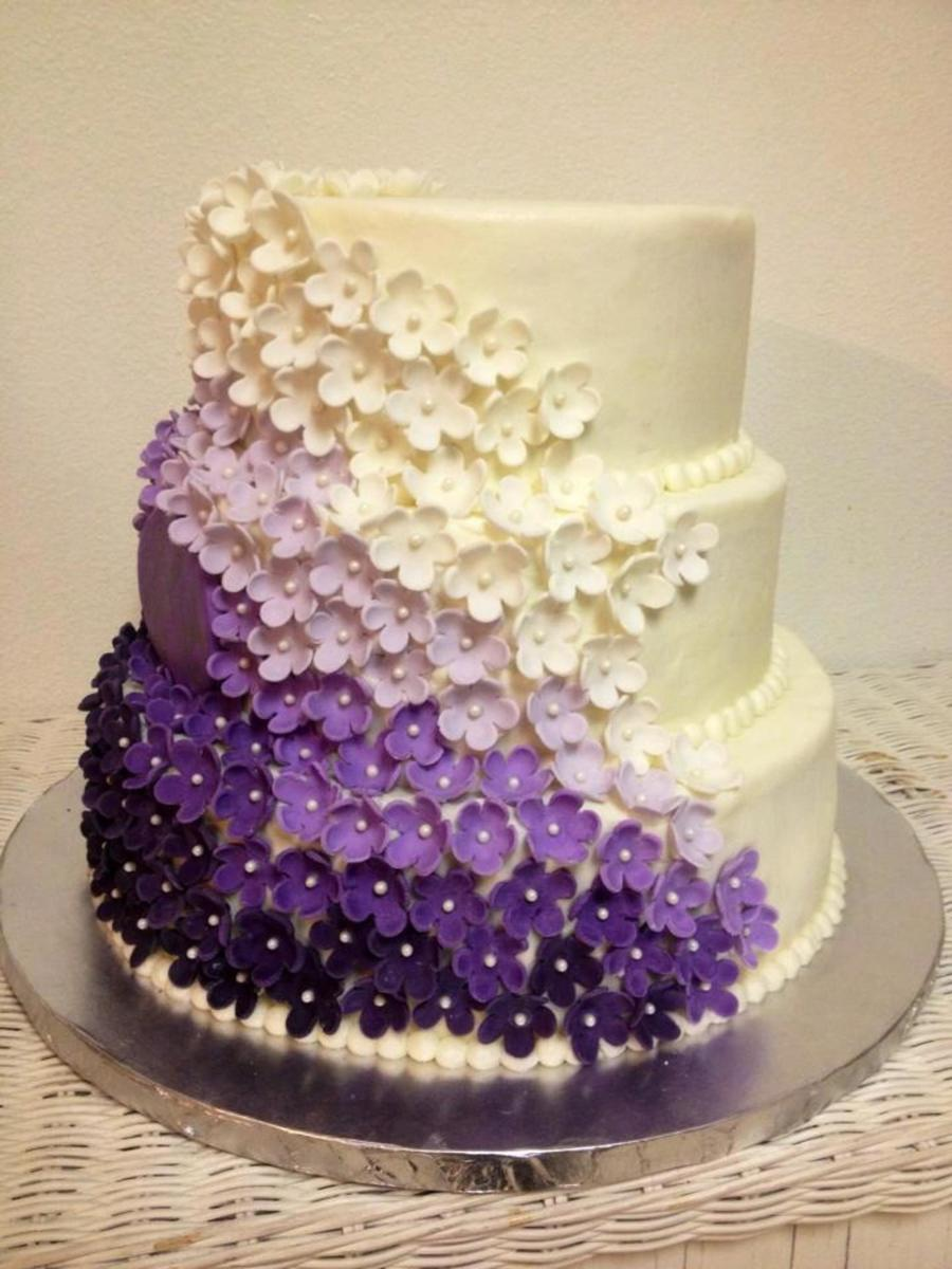 Two Tier Wedding Cake With Purple Flowers