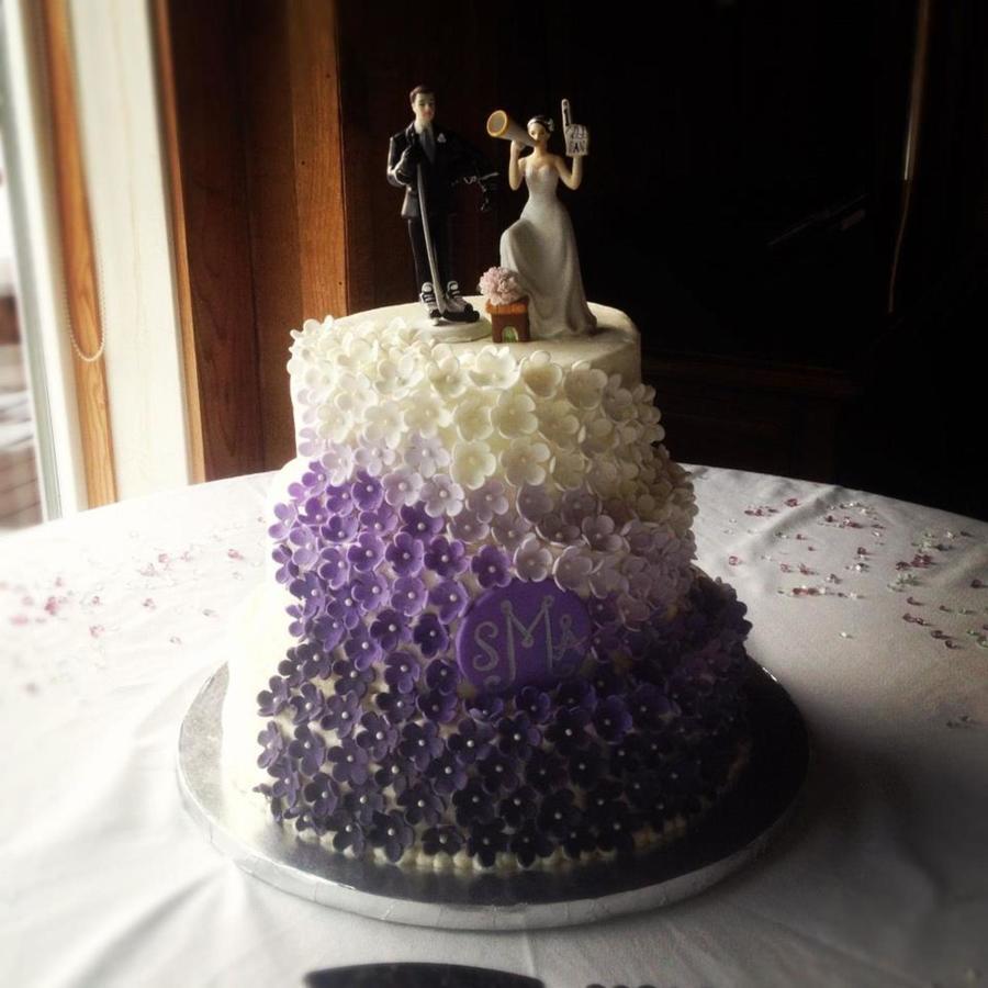Blue Purple And White Wedding Cake