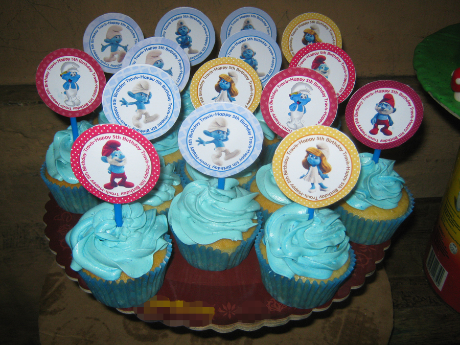 Smurfs Cupcake With Smurfs Cupcake Picks on Cake Central