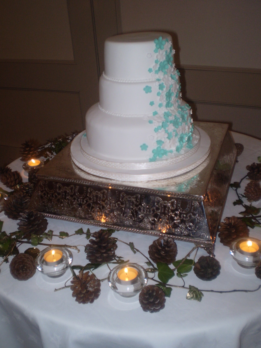 simple 3 tier wedding cake recipe simple 3 tier wedding cake with handmade white and blue 19919