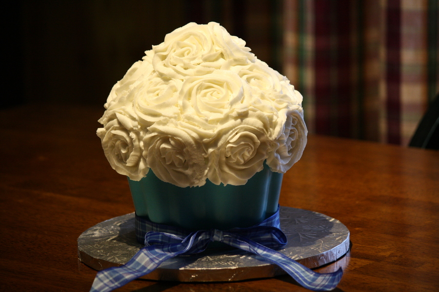 Rose Swirled Giant Cupcake With Blue Chocolate Shell on Cake Central