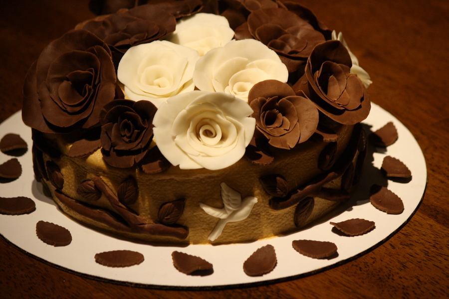 Chocolate Rose Cakecake Iced With Vanilla Butter Cream And Roses Handcrafted With Chocolate Milk Chocolate And Vanilla on Cake Central